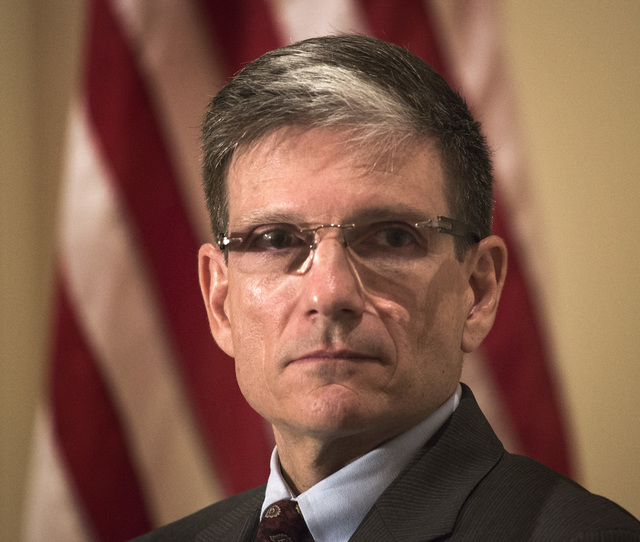 """U.S. Rep. Joe Heck, R-Nev., was the speaker for the Las Vegas Metro Chamber of Commerce """"Eggs & Issues"""" breakfast at the Four Seasons on Tuesday, July 1, 2014. Heck updated the group on the latest ..."""