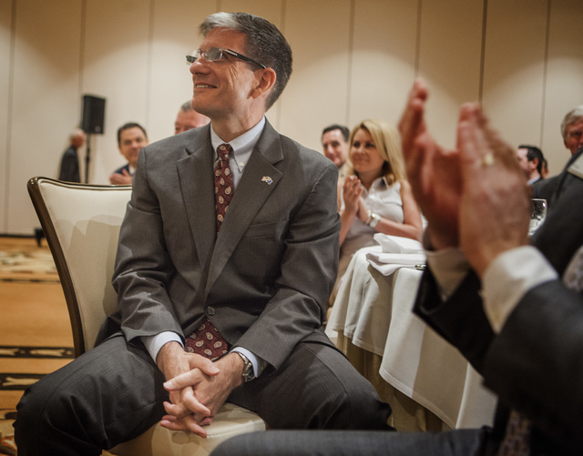"""U.S. Rep. Joe Heck, R-Nev., was the speaker for the Las Vegas Metro Chamber of Commerce """"Eggs & Issues"""" breakfast at the Four Seasons on Tuesday, July 1, 2014. He updated the group on the latest b ..."""