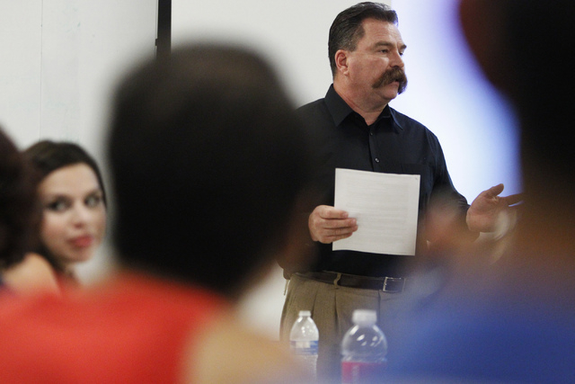 East Vegas Christian Center pastor Troy Martinez presents a project during  a Mayor's Faith Initiative Workgroup meeting on human trafficking at Las Vegas City Hall in Las Vegas Thursday, July 24, ...