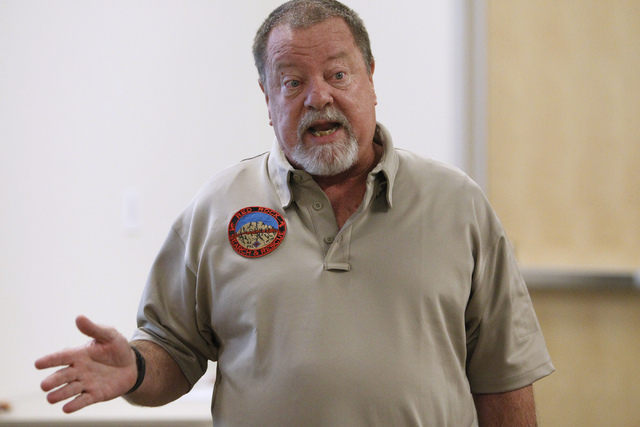 David Cummings, commander at Red Rock Search and Rescue, presents a project during a Mayor's Faith Initiative Workgroup meeting on human trafficking at Las Vegas City Hall in Las Vegas Thursday, J ...