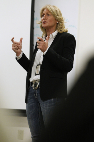 Las Vegas police Lt. Karen Hughes at the Vice section gives a presentation during a Mayor's Faith Initiative Workgroup meeting on human trafficking at Las Vegas City Hall in Las Vegas Thursday, Ju ...