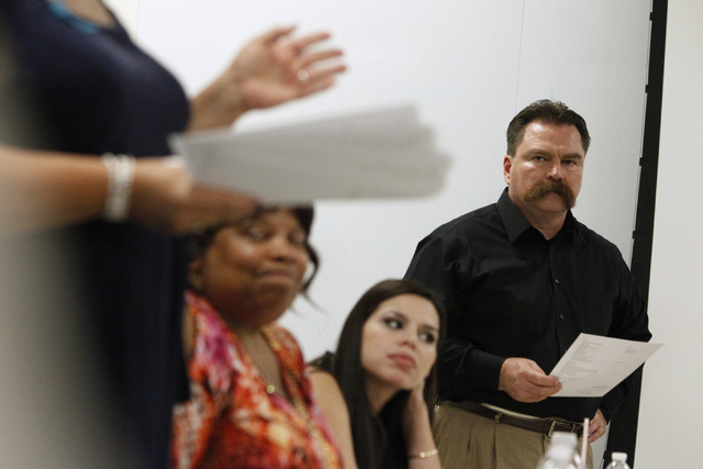 East Vegas Christian Center pastor Troy Martinez waits to present a project during a Mayor's Faith Initiative Workgroup meeting on human trafficking at Las Vegas City Hall in Las Vegas Thursday, J ...