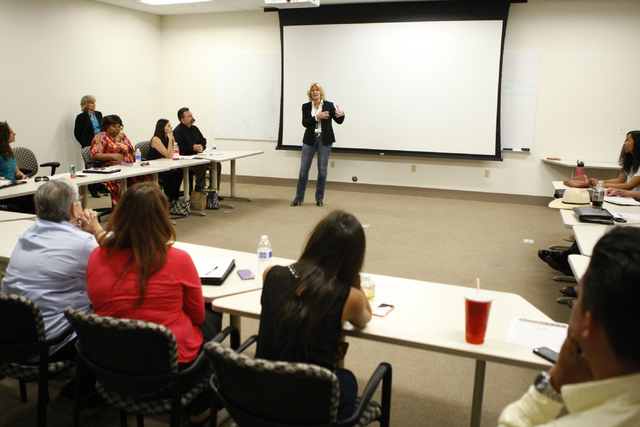 Las Vegas police Lt. Karen Hughes at the Vice section, center, gives a presentation during a Mayor's Faith Initiative Workgroup meeting on human trafficking at Las Vegas City Hall in Las Vegas Thu ...