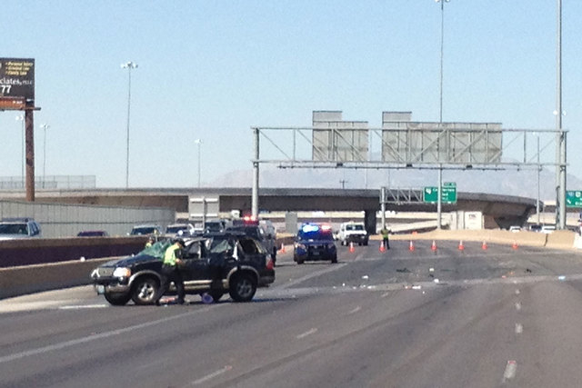 The Nevada Highway Patrol is on the scene of a fatal accident Wednesday morning, July 2, 2014, on northbound Interstate 15 near D Street. One child has died and another has life-threatening injuri ...