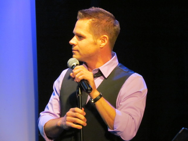 """Brandon Berk, one of  """"Two Theatre Nerds and a Keyboard,"""" Saturday night at the Onyx Theatre. (Courtesy)"""