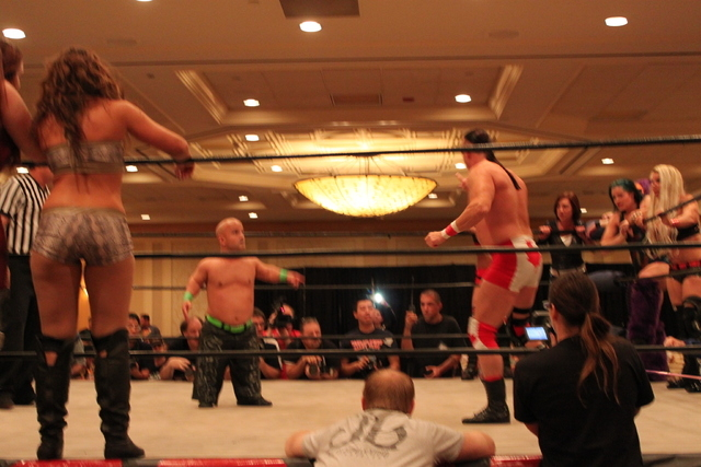 A 12-person mixed tag team match is shown at the Casino Royale wrestling event in June. Terra Calaway, a local talent, competed for Team USA in a win over Team Canada. (Sean Jaramillo/Las Vegas Re ...