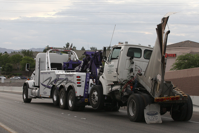 A jackknifed semitrailer shut down a portion of the eastbound 215 Beltway Tuesday morning. July 15, 2014 (Michael Quine/Las Vegas Review-Journal)