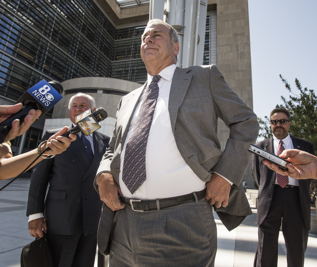 Las Vegas Sun Publisher and Editor Brian Greenspun leaves Lloyd D. George Federal Courthouse at  333 Las Vegas Boulevard South after a federal judge denied the  injunction hearing on Friday, Sept. ...