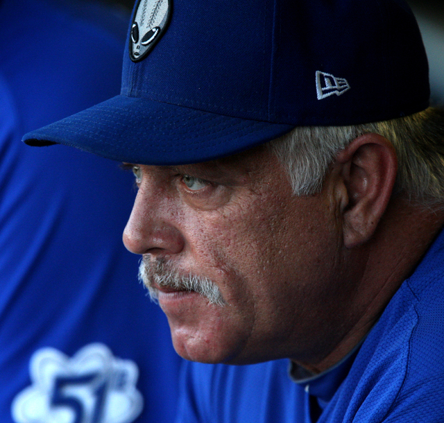 Las Vegas 51s manager Wally Backman is seen in the dugout before the Las Vegas 51s face off against the Tucson Padres in baseball at Cashman Field in Las Vegas Sunday, Sep. 1, 2013. (Jessica Ebelh ...