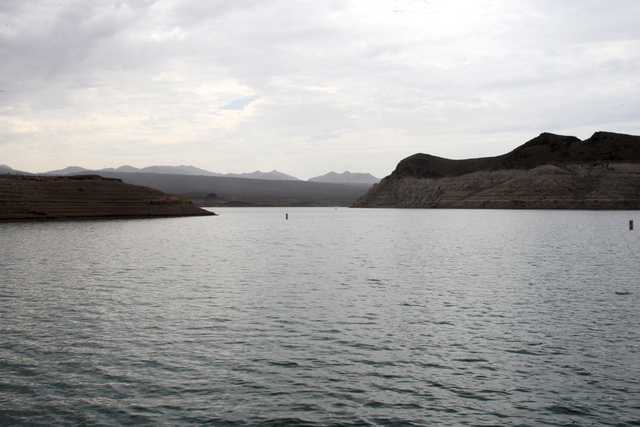 Bath tub rings on the rocks entering Echo Bay illustrate the magnitude of water lost as Lake Mead levels approach a record low point. Thursday, July 10, 2014 (Michael Quine/Las Vegas Review-Journal)