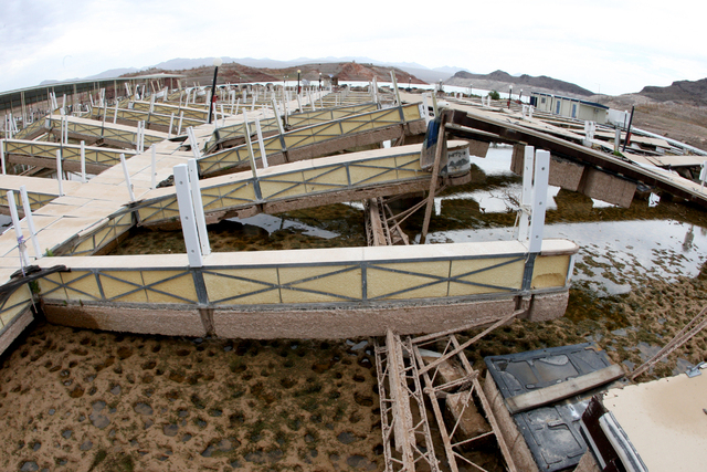 In a photo taken with a fisheye lens the Echo Bay Marina lies beached and abandoned as Lake Mead levels approach a record low point. Thursday, July 10, 2014 (Michael Quine/Las Vegas Review-Journal)