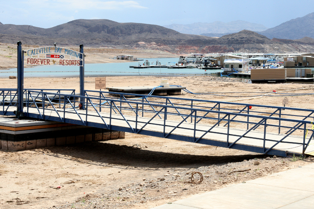 The former entry to Callville Bay Marina sits beached after the marina was moved to accommodate near record low water levels at Lake Mead. Thursday, July 10, 2014 (Michael Quine/Las Vegas Review-J ...