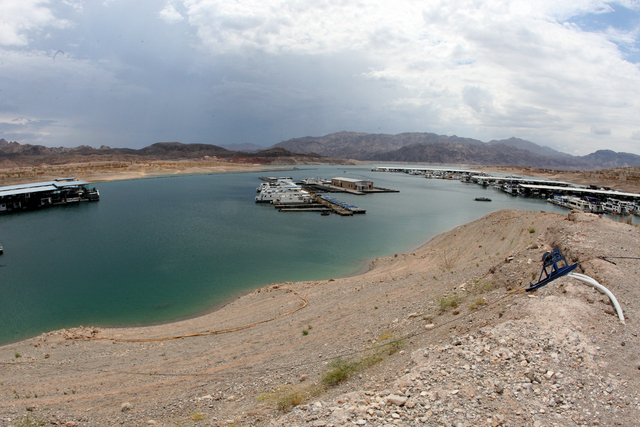 As Lake Mead recedes the Callville Bay Marina continues to move further from it's original location to accommodate near record low water levels. Thursday, July 10, 2014 (Michael Quine/Las Vegas Re ...