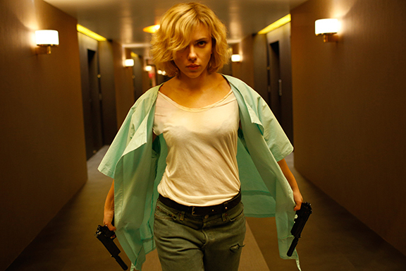 """Scarlett Johansson stars in the sci-fi action tale """"Lucy,"""" from writer-director Luc Besson. (Jessica Forde/Universal Studios)"""