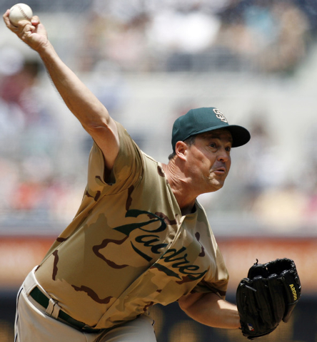 San Diego Padres Greg Maddux delivers during the first inning of a baseball game against the San Francisco Giants Sunday, Aug. 3, 2008 in San Diego. (AP Photo/Denis Poroy)