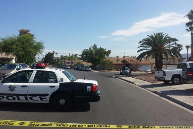 Metro is seen on scene of an officer-involved shooting in the southeast valley Tuesday morning. (Colton Lochhead/Las Vegas Review-Journal)