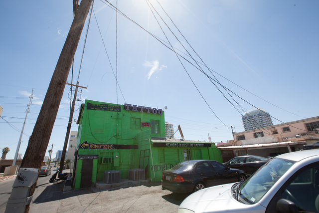 """The space planned for a small container park by Rick Harrison of the reality TV show """"Pawn Stars"""" is seen across the parking lot from Gold & Silver Pawn shop in downtown Las Vegas on Thu ..."""