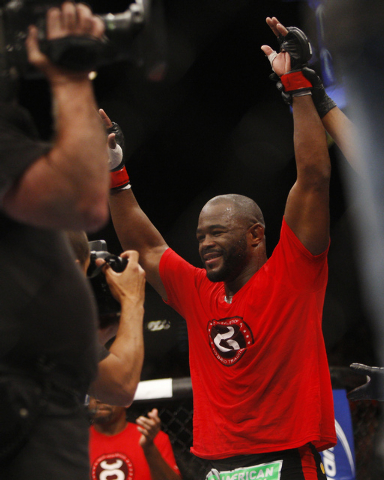 Rashad Evans celebrates his victory over Chael Sonnen during UFC 167 at the MGM Grand Garden Arena in Las Vegas on Nov. 16, 2013. (Jason Bean /Las Vegas Review-Journal)