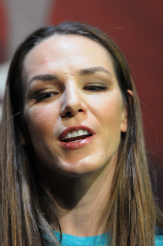 Mixed martial artist Alexis Davis is interviewed during media day at Mandalay Bay Events Center in Las Vegas Thursday, July 3, 2014. Davis is slated to face Ronda Rousey, Ultimate Fighting Champio ...