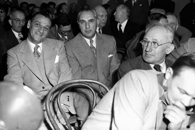 Available for questioning by the Kefauver Senate Crime investigating committee in Los Angeles, Calif. Feb. 28, 1951 are Moe Dalitz, left, head of a Cleveland, Cincinnati and Kentucky gambling synd ...