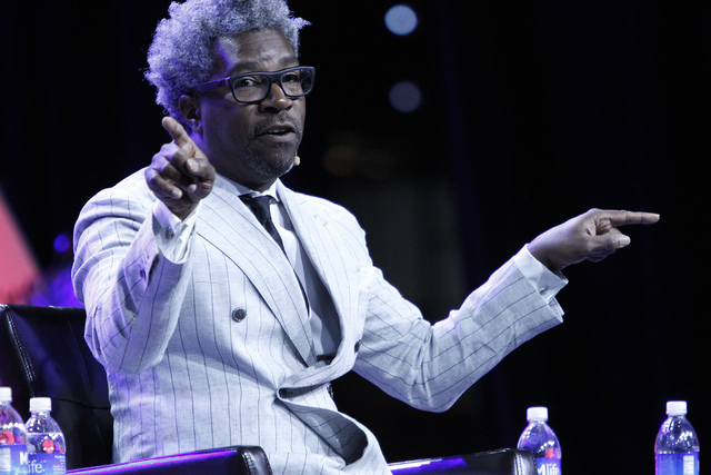 Cornell Belcher, president at Brilliant Corners Research & Strategies, speaks during a panel discussion on voter suppression during the annual NAACP convention at Mandalay Bay Convention Center in ...