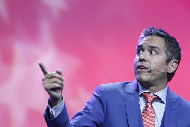 Cristobal Alex, president at The Latino Victory Project, speaks during a panel discussion on voter suppression during the annual NAACP convention at Mandalay Bay Convention Center in Las Vegas Tue ...