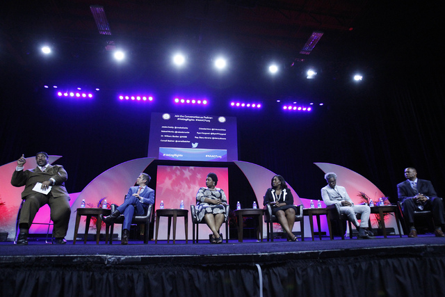 Rev. William Barber, from left, Cristobal Alex, president at The Latino Victory Project, Rep. Stacey Abrams, D-Ga., Jotaka Eaddy, senior adviser to the president and CEO at the NAACP, Cornell Belc ...