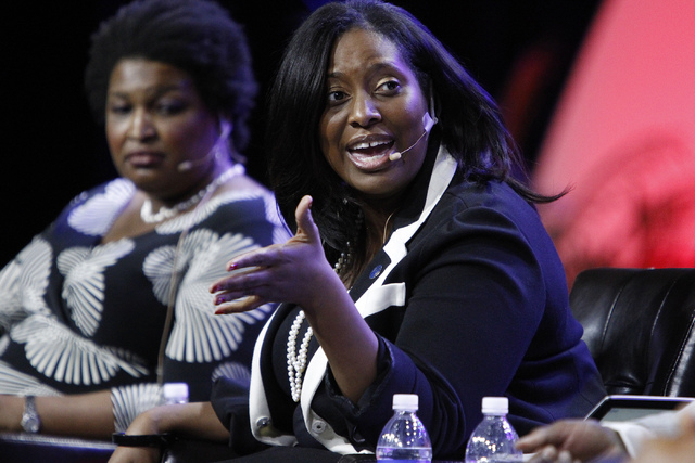 Jotaka Eaddy, senior adviser to the president and CEO at the NAACP, speaks during a panel discussion on voter suppression during the annual NAACP convention at Mandalay Bay Convention Center in La ...