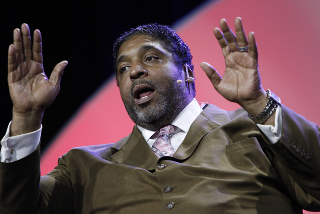 Rev. William Barber speaks during a panel discussion on voter suppression during the annual NAACP convention at Mandalay Bay Convention Center in Las Vegas Tuesday, July 22, 2014. (Erik Verduzco/L ...