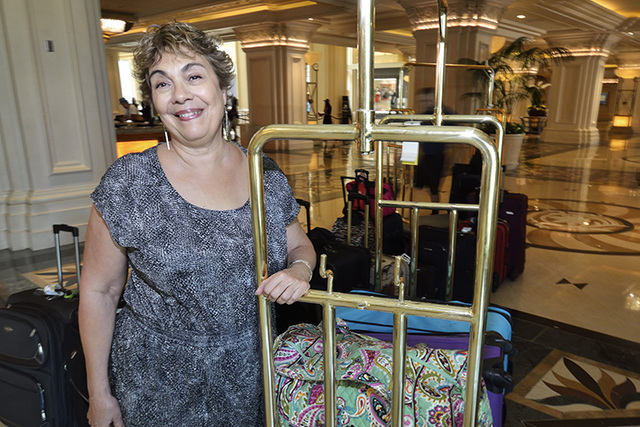 Roz Santangelo, senior vice president of business affairs for Bags of Nevada, is shown the bell desk at Mandalay Bay at 3950 Las Vegas Blvd., South, in Las Vegas on Tuesday, June 24, 2014. Bags of ...