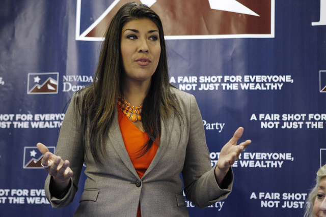 Assemblywoman Lucy Flores speaks during a meeting with Nevada Democratic leaders at the Nevada Democratic Party headquarters in Las Vegas Monday, July 21, 2014. (Erik Verduzco/Las Vegas Review-Jou ...
