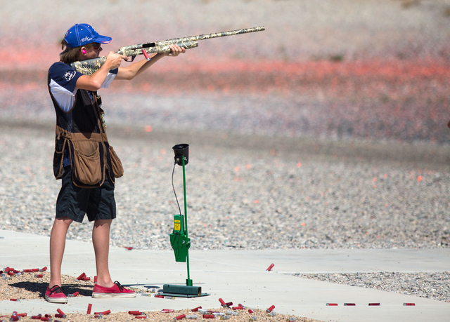 Ryan Ahlers (cq), 15, competes in the trap shooting competition during the U.S. Open for Youth Sport Shooting Championships at the Clark County Shooting Complex, 11357 N. Decatur Blvd., Friday, Ju ...