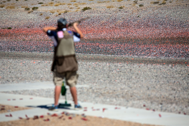 Clay targets lay on the ground during the U.S. Open for Youth Sport Shooting Championships at the Clark County Shooting Complex, 11357 N. Decatur Blvd., Friday, July 11, 2014. (Samantha Clemens-Ke ...