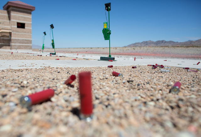 Empty casings lay on the ground during the U.S. Open for Youth Sport Shooting Championships at the Clark County Shooting Complex, 11357 N. Decatur Blvd., Friday, July 11, 2014. (Samantha Clemens-K ...