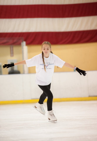 Hunter Pendergraft, 15, practices her skating during the Summer Fun on Ice program at the SOBE Ice Arena at the Fiesta Rancho, 2400 N. Rancho Drive, in Las Vegas on Saturday, July 12, 2014. (Marti ...