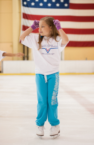 Saylor Hites, 9, practices her skating during the Summer Fun on Ice program at the SOBE Ice Arena at the Fiesta Rancho, 2400 N. Rancho Drive, in Las Vegas on Saturday, July 12, 2014. (Martin S. Fu ...