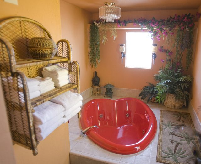 A heart shaped tub at the Shady Lady brothel located about 2 1/2 hours north of Las Vegas as seen Dec. 23, 2009. Currently there are fewer than 20 legal brothels in Nevada. (Jeff Scheid/Las Vegas  ...