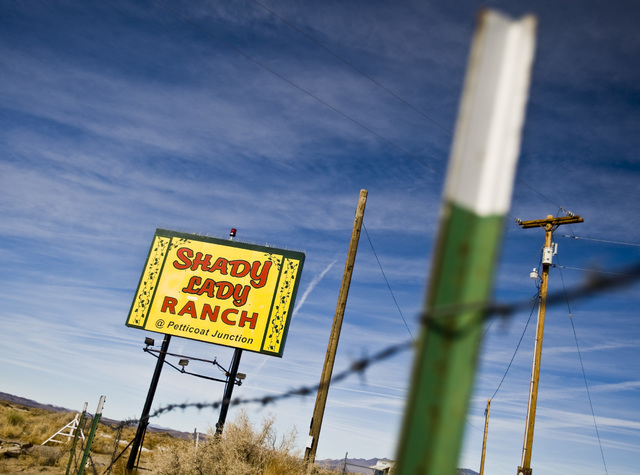 The entrance of the Shady Lady brothel located about 2 1/2 hours north of Las Vegas as seen Dec. 23, 2009. Currently there are fewer than 20 legal brothels in Nevada. (Jeff Scheid/Las Vegas Review ...