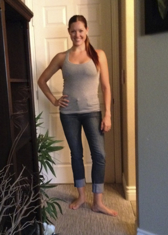 Megan Buckley after her weight loss. When working out became a passion, she became a certified trainer by the American College of Sports Medicine and created the Full Intensity Interval Training m ...