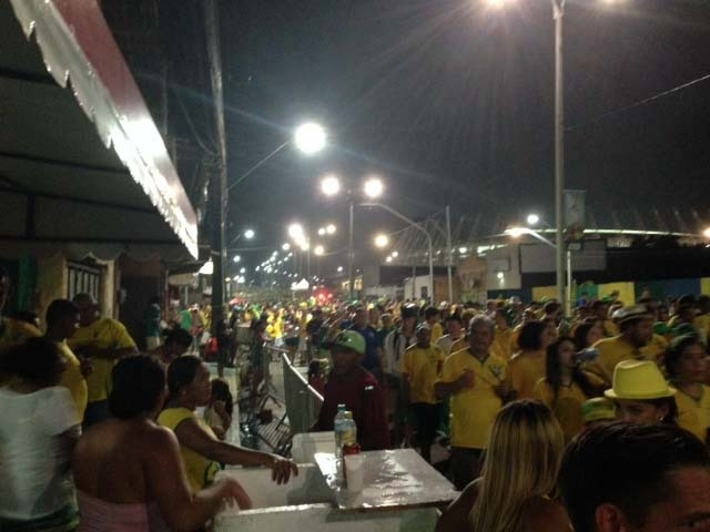 The crowd departs Fortaleza's Castelão Stadium after Brazil's 2-1 quarter final victory over Colombia. (Brennan Karle/Las Vegas Review-Journal)