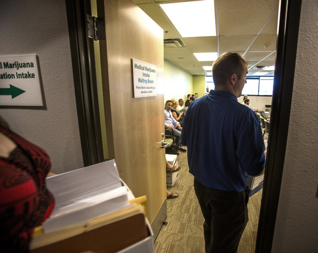 Medical marijuana  applications arrive at the City of Las Vegas Department of Planning office,  333 Rancho Drive, on Wednesday, July 23, 2014.  Wednesday was the deadline for medical marijuana est ...