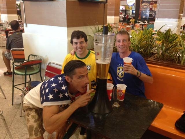 Our pre-gaming before the Brazil vs. Colombia quarter final match in Fortaleza.