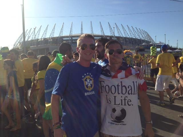 Me and cousin Drew at Fortaleza's Castelão Stadium for the quarter final match between Brazil and Colombia on July 4.