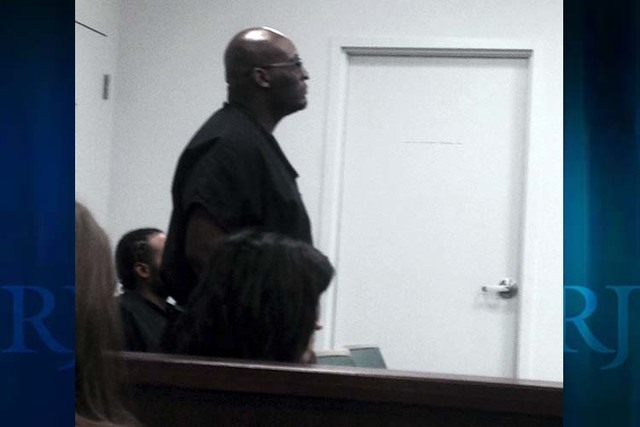 Aldrin West, 42, appears at Boulder City Justice Court on Tuesday. (Yesenia Amaro/Las Vegas Review-Journal)