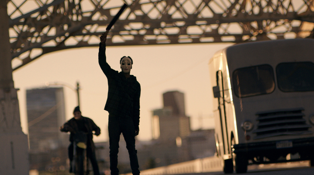 """Vicious thugs celebrate their right to Purge in """"The Purge: Anarchy,"""" the sequel to summer 2013's sleeper hit. Writer/director James DeMonaco returns to craft the next terrifying chapter of dutifu ..."""