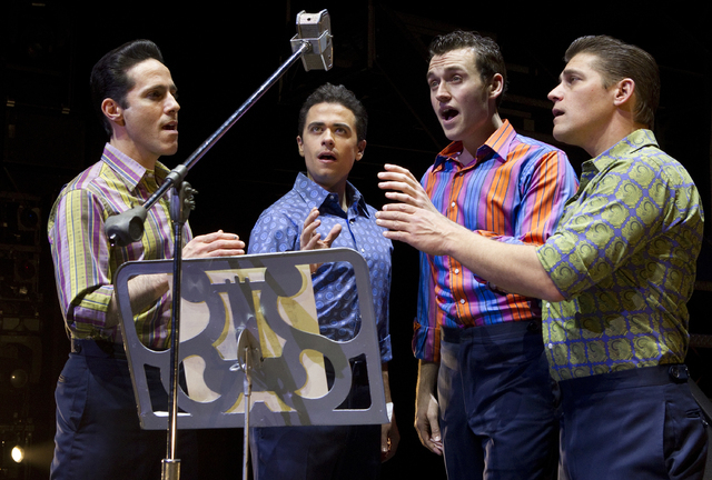 "Jeff Leibow, from left, Graham Fenton, Rob Marnell and Deven May in ""Jersey Boys."" (Joan Marcus/Courtesy)"