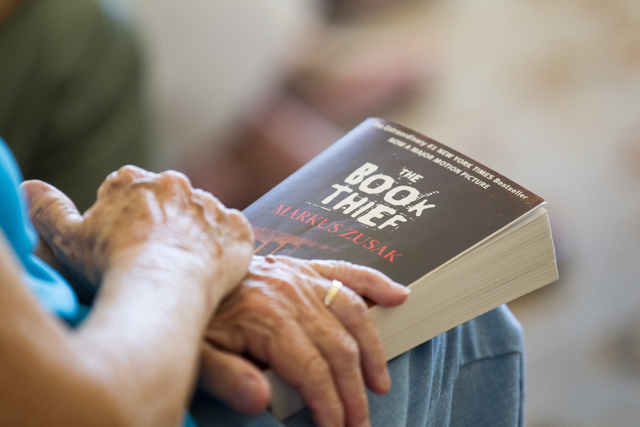 "Book Leaf Club member, of Mountain View Presbyterian Church, Shirley Laibson participates in a group discussion about the novel ""The Book Thief"" by Markus Zusak at the home of group memb ..."