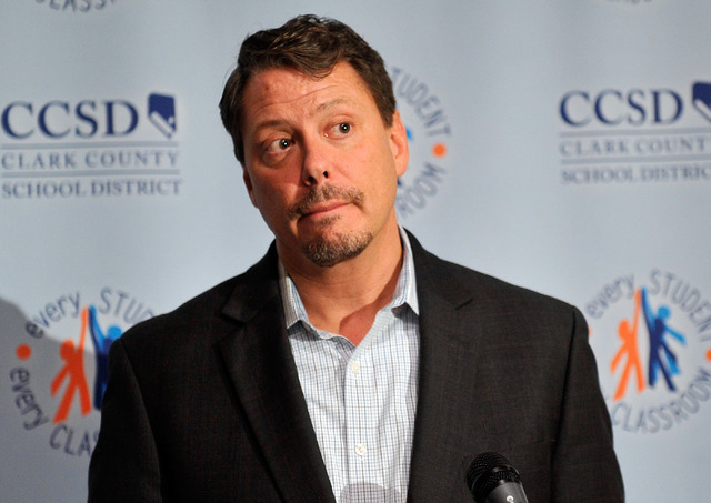 Clark County School District Superintendent Pat Skorkowsky speaks during a news conference at district headquarters on Friday, July 18, 2014. Skorkowsky gave remarks and answered questions on the  ...