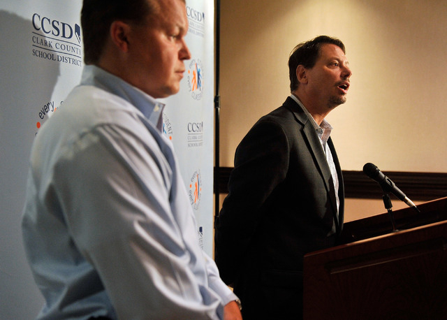 Clark County School District Superintendent Pat Skorkowsky, right, speaks as CCSD police Sgt. Mitch Maciszak looks on during a news conference at district headquarters on Friday, July 18, 2014. Sk ...