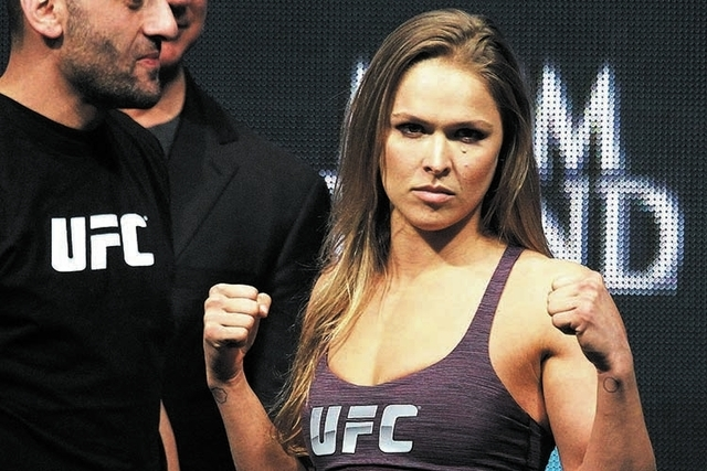 Ronda Rousey will defend her bantamweight title against Miesha Tate during on Saturday's bout at the MGM Grand Garden Arena. (Jason Bean/Las Vegas Review-Journal File)
